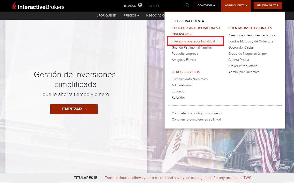 abrir una cuenta en Interactive Brokers