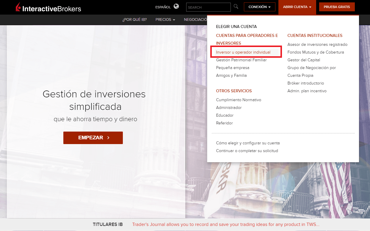 cuenta en Interactive Brokers