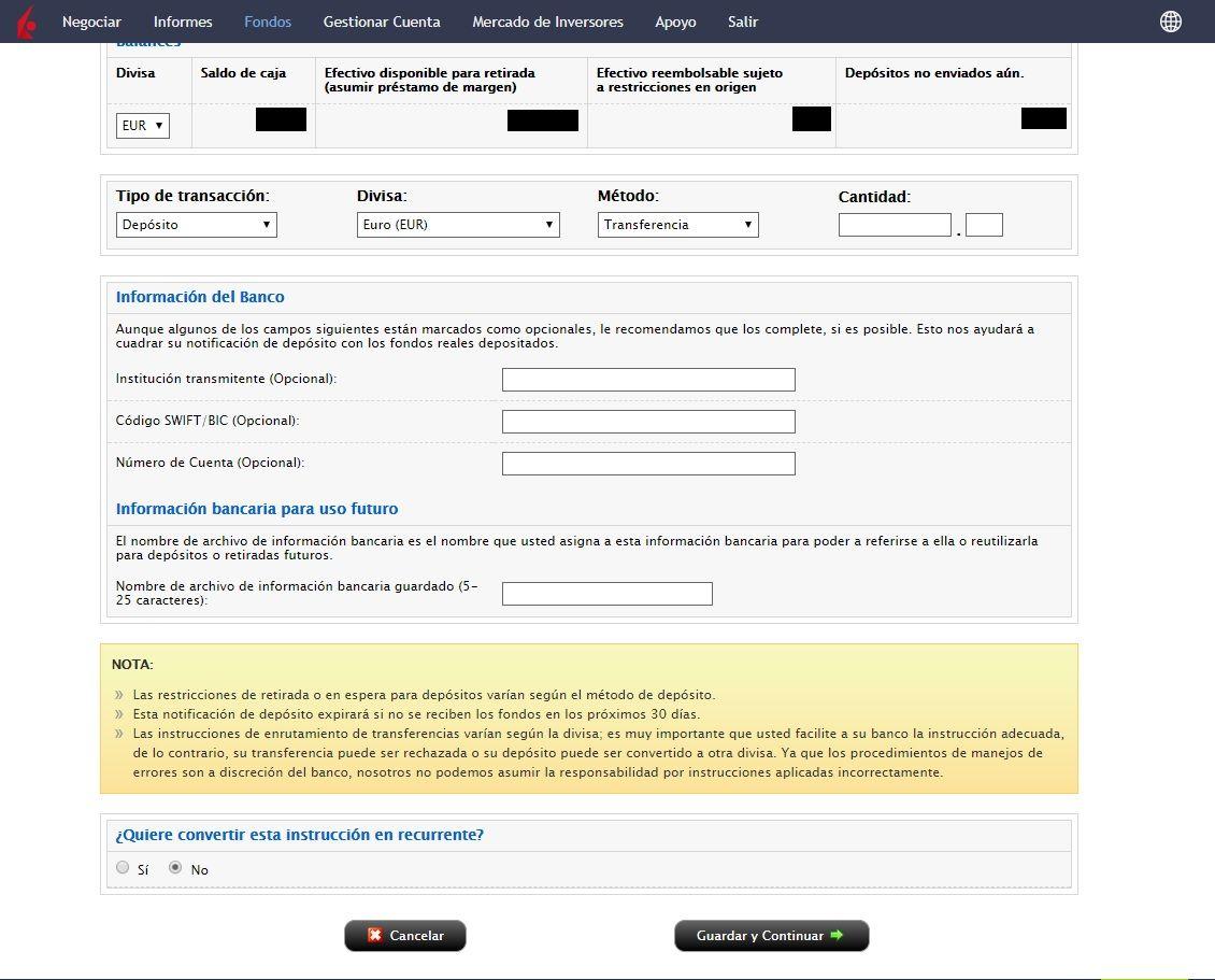 transferencias en Interactive Brokers